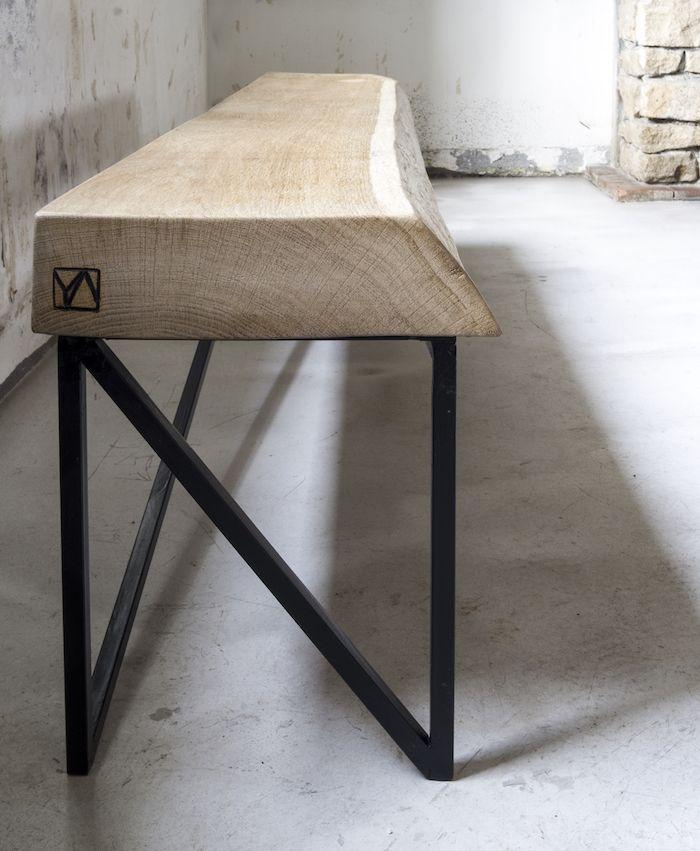 Ya atelier banc anna plateau ch ne massif 80mm pied acier pied acier furniture table et - Table plateau bois pied metal ...