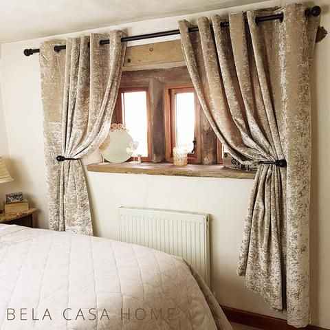 Crushed Velvet Eyelet Top, Fully Lined Ready Made Curtains   Gold