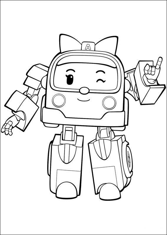 Robocar Poly Fargelegging For Barn Tegninger For Utskrift Og
