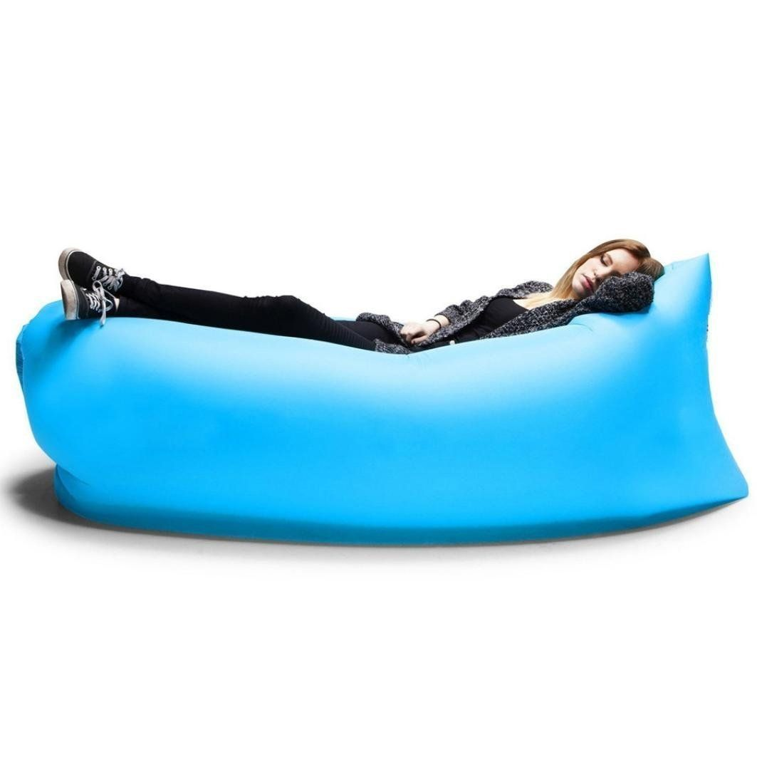 Outdoor Inflatable Couch Camping Furniture Sleeping Compression Air Bag Lounger Hangout Nylon Fabric Blue Black 330