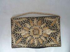Vintage Gold Flower Embroider Design on Black Felt Clutch Purse Bag w Hand Strap