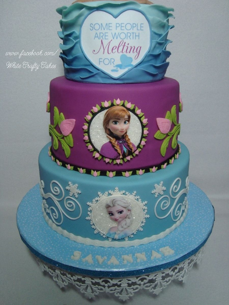 Frozen Cake With Anna Elsa And Olaf In Summer Cake Ideas