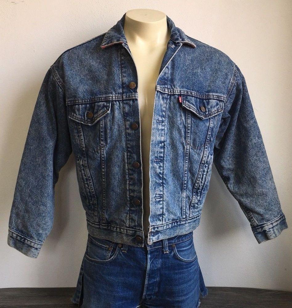 Vtg Levis Denim Jacket 80s Rare Red Flannel Plaid Lined Jean Trucker