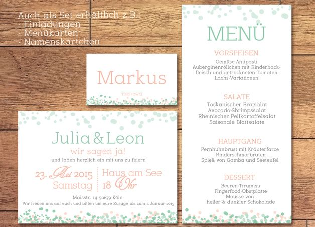 Hochzeitseinladung Spring Time LachsMint Invitations