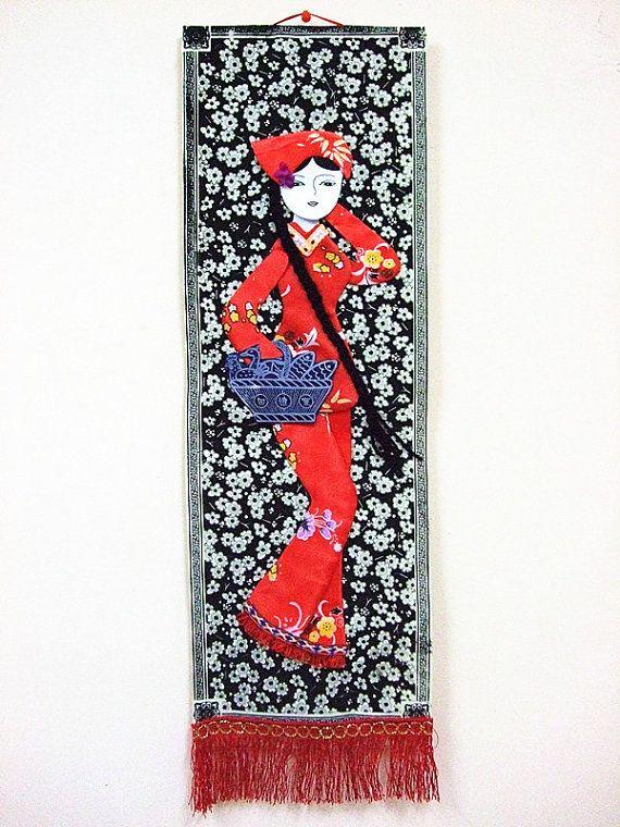 Handmade Chinese Fabric Wall Hanging Oriental By Dermusensohn2000 12 00
