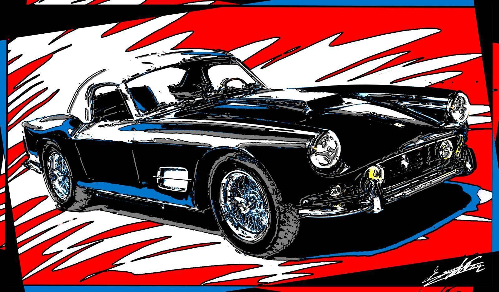 Tableau Ferrari Ancienne Peinture Voiture Sport Pop Art Moderne Alain Delon Supercars Voiture De Sport Voiture
