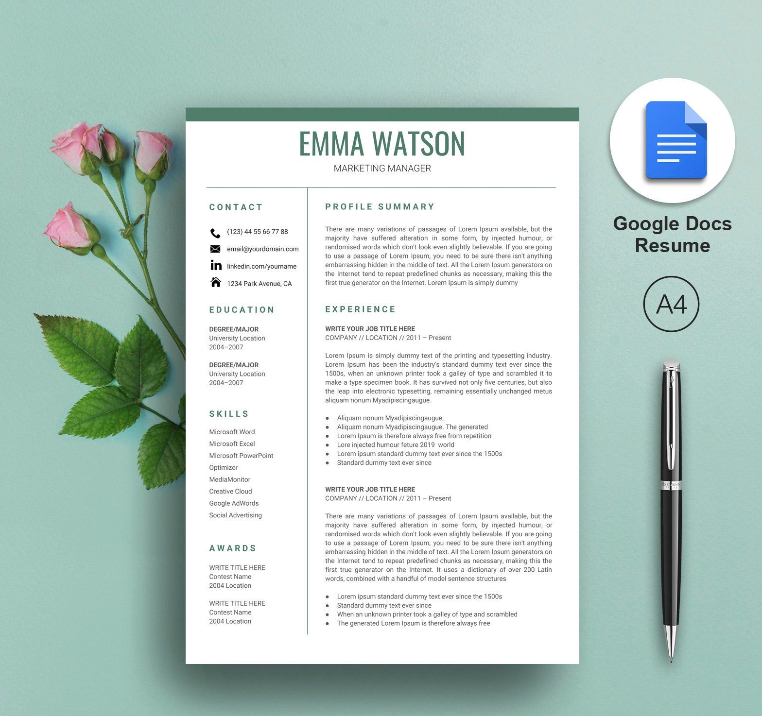 Resume Template Google Docs, Google Docs Resume Template