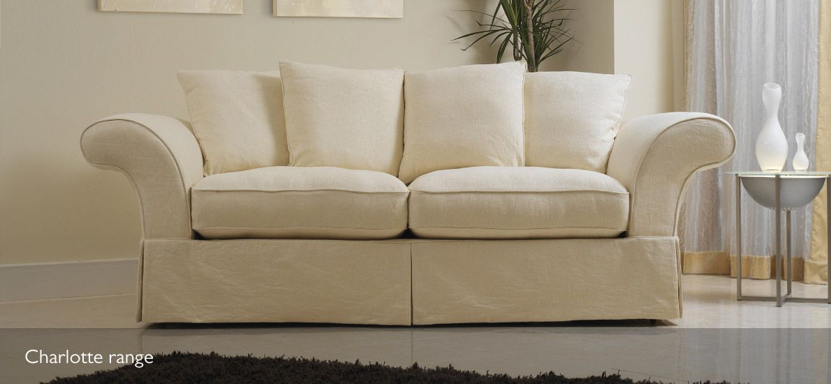 Charlotte 4 Seater Loose Cover Fabric Sofa With Duck Feather/hollowfibre  Filling For Maximum Comfort.