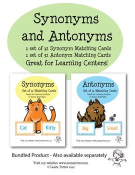 Synonym And Antonym Matching Cards Homeschool Writing Synonyms And Antonyms Reading Vocabulary