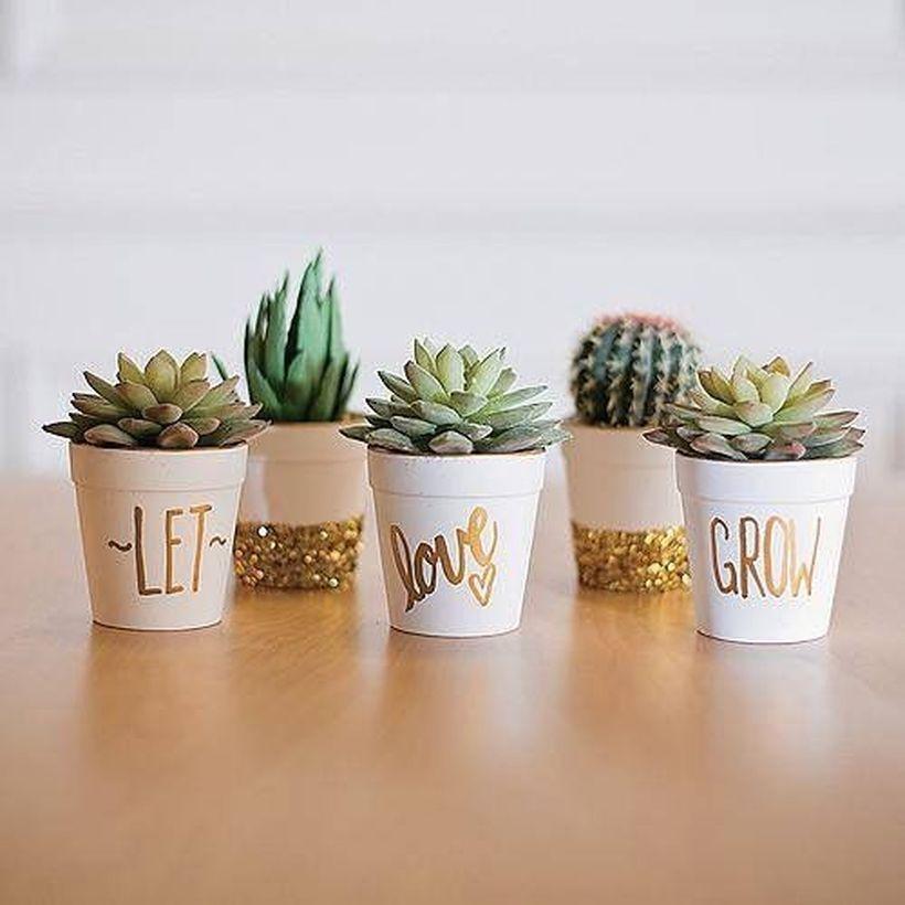 80 Cute Cactus Decor Ideas For Your Home Https Decomg Com 80 Cute Cactus Decor Ideas For Your Home Succulent Pots Flower Pots Small Succulents