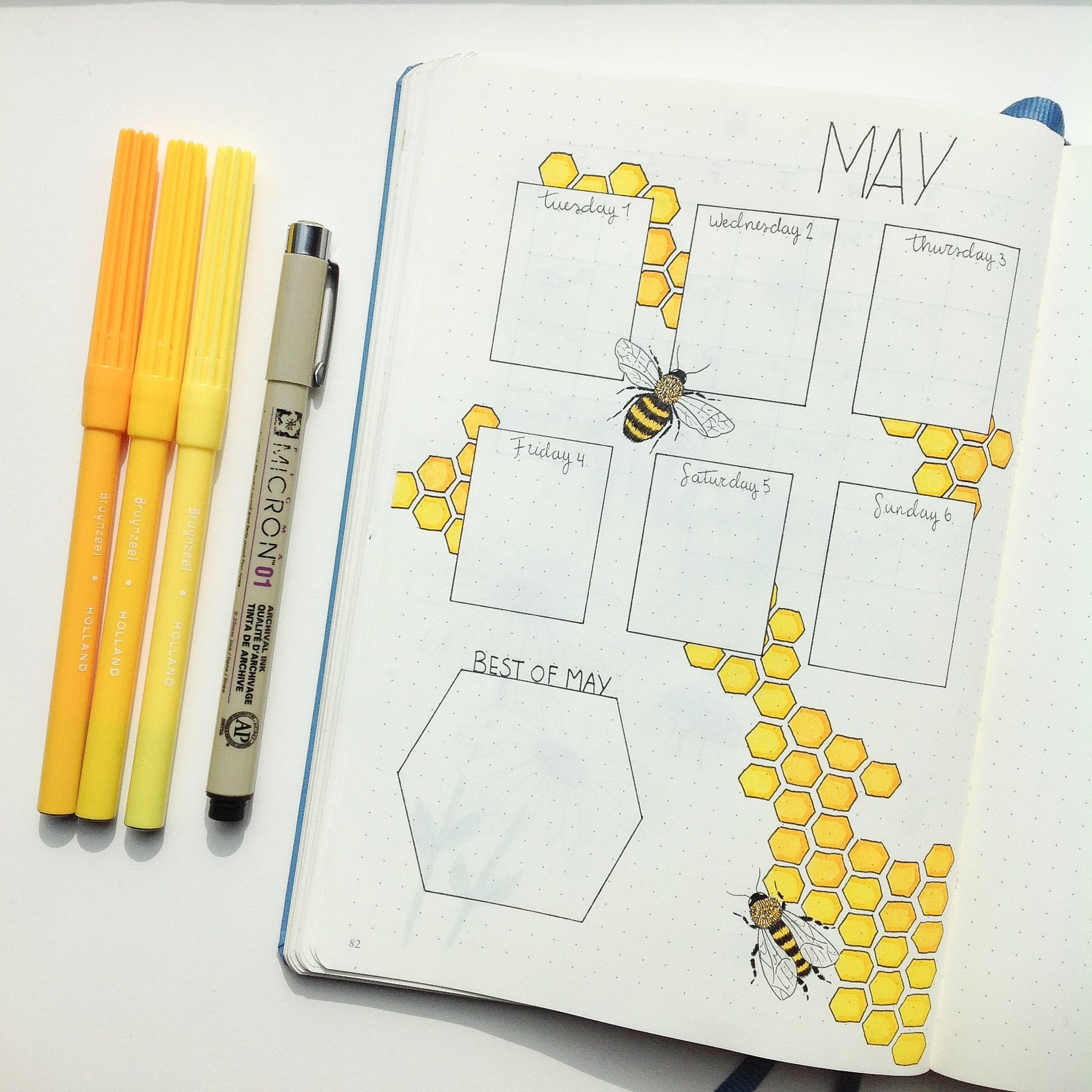 Bullet Journal May 2018, bees and honey! Spring is in the air! #augustbulletjournal