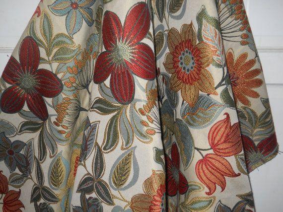 Modern Fabric, Tan Brick Red Blue Green Coral Orange Yellow Gold