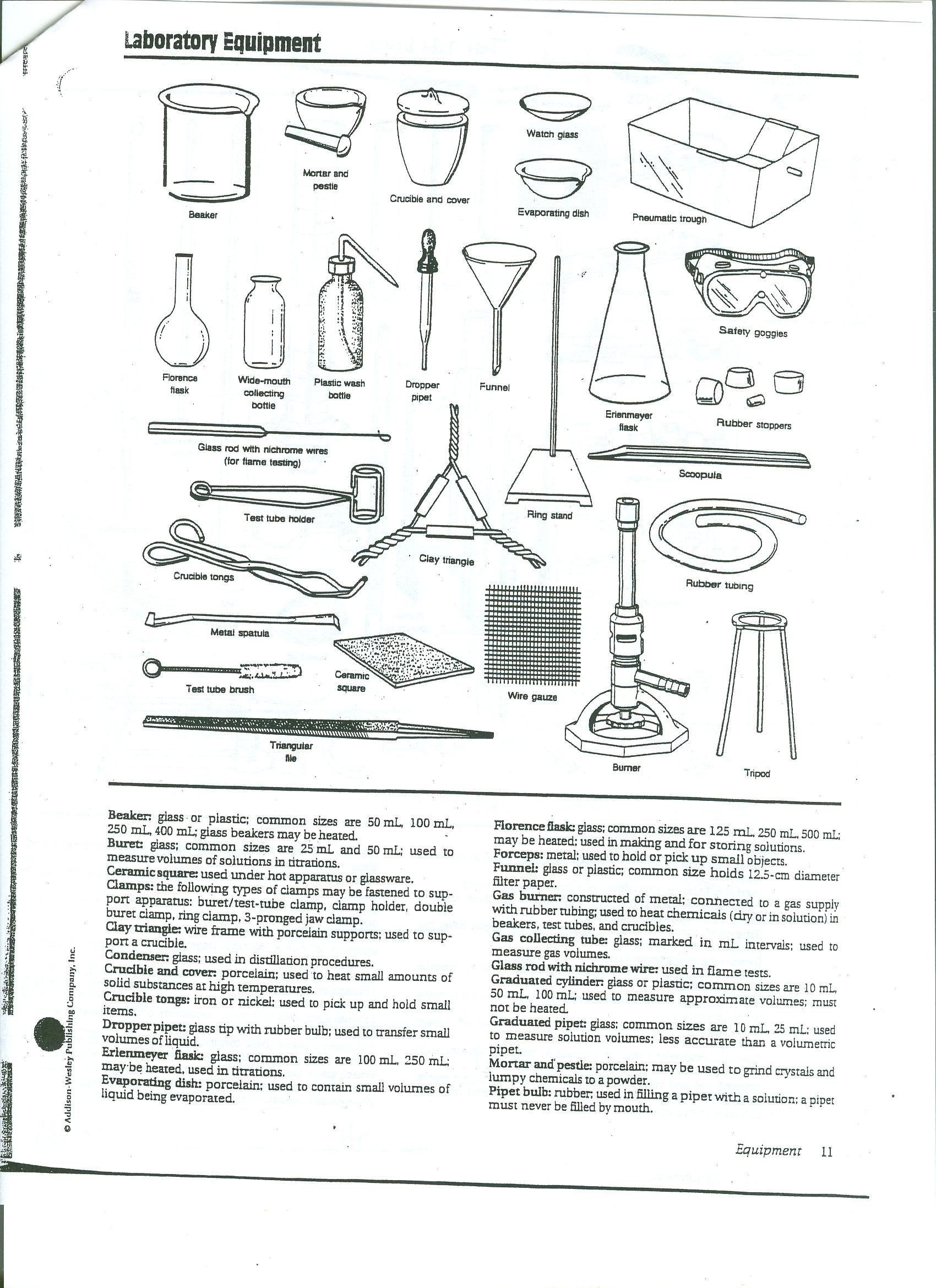 Chemistry Lab Equipment Worksheet Chemistry Lab Equipment