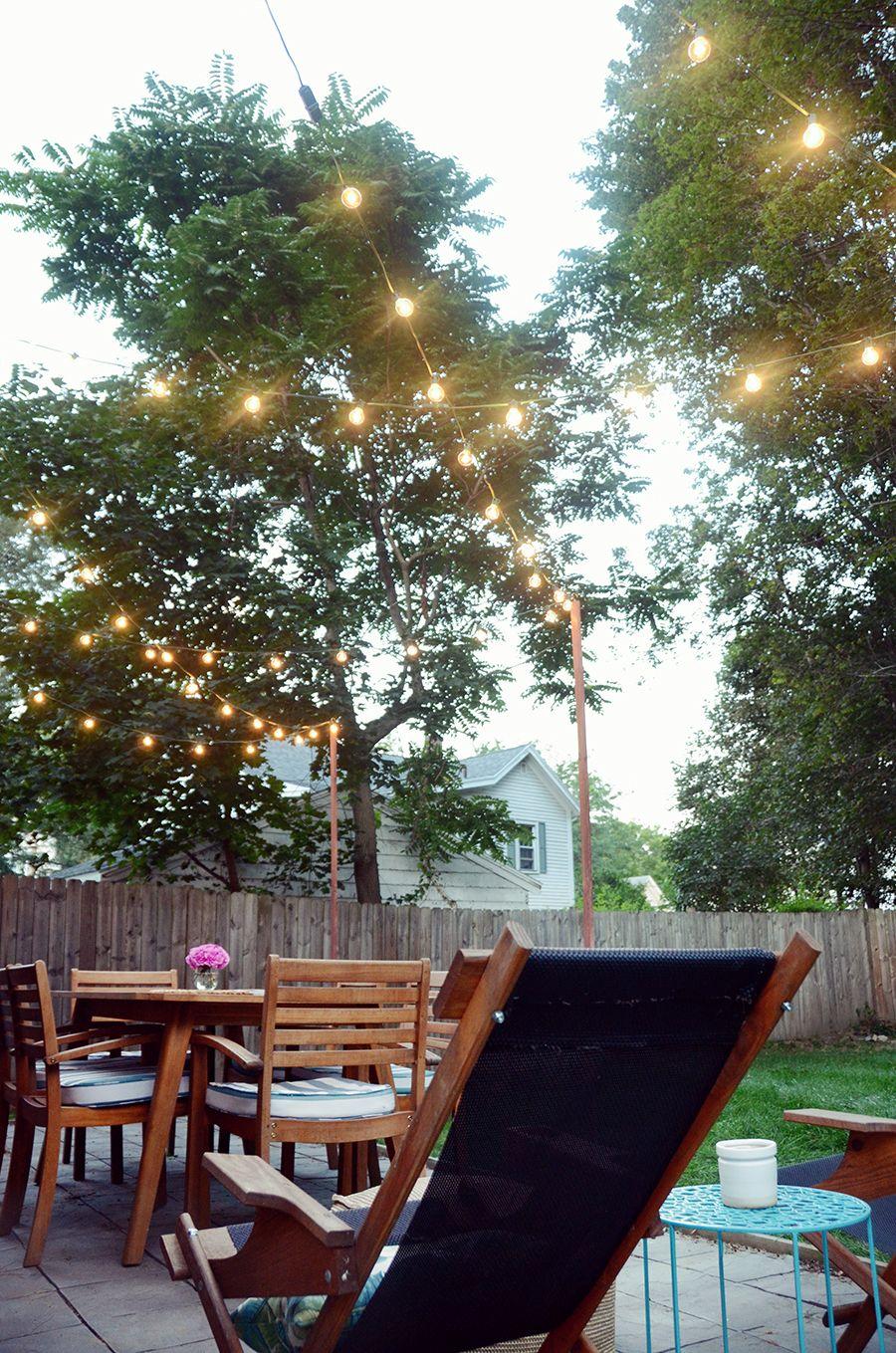 Diy bistro light posts for your patio diy outdoor