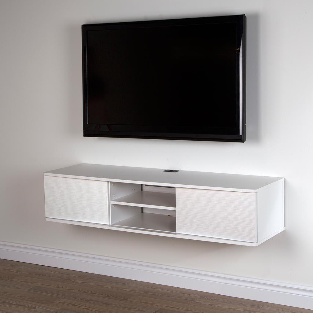 Trouver Le Bon Meuble D Appoint Pour Completer Le Decor De Votre Salon Est Facile Chez Tanguay La Wall Mounted Media Console Hanging Tv On Wall Media Console