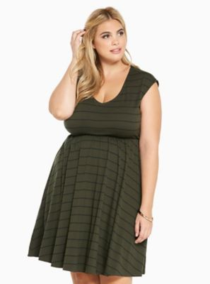 Striped V-Neck Jersey Skater Dress in Black White 52d4265a6