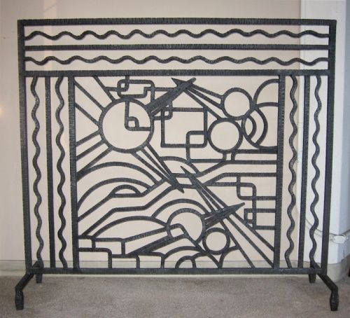 New Art Deco Fireplace Screen With Iron