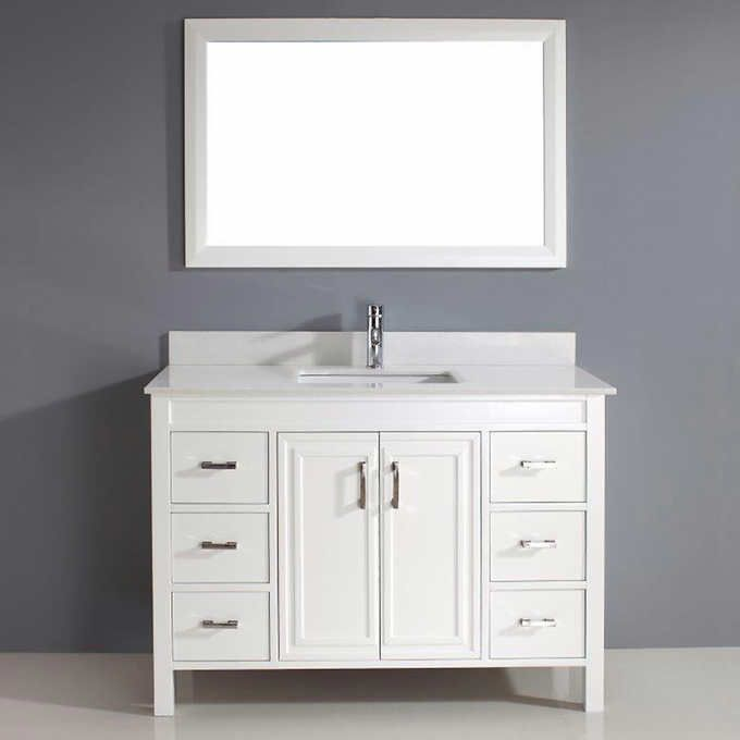 Corniche 48 White Vanity By Studio Bathe Single Bathroom Vanity Single Sink Bathroom Vanity Bathroom Vanity