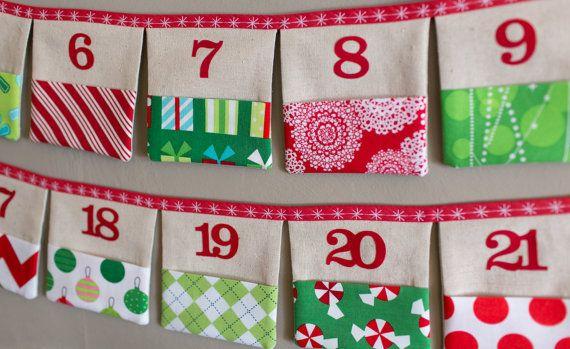 Christmas Advent Calendar Fabric Pocket Bunting in by LooDeLoop