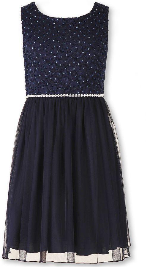 b5b103a63e10 Speechless Sleeveless Navy Sparkle Lace-to-Mesh Ballerina Dress - Girls 7-16  and Plus #holidays #fashion #style #ad