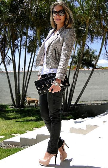 Silver jacket& nude pumps, nice way to pull of leather pants (by Vanessa Vasconcelos) http://lookbook.nu/look/2804649-Silver-jacket