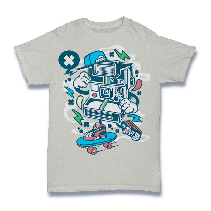 Download Polaroid Skater Vector T Shirt Design For Download Buy T Shirt Designs Tshirt Designs Shirt Designs Shirts