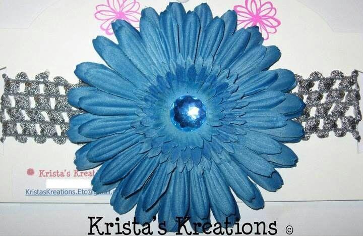 #7001: Teal Gerbera Teal Rhinestone Grey Headband #teal #grey #gerbera #daisy #flower #crochet #headband #kristaskreations https://www.facebook.com/KristasKreationsEtc