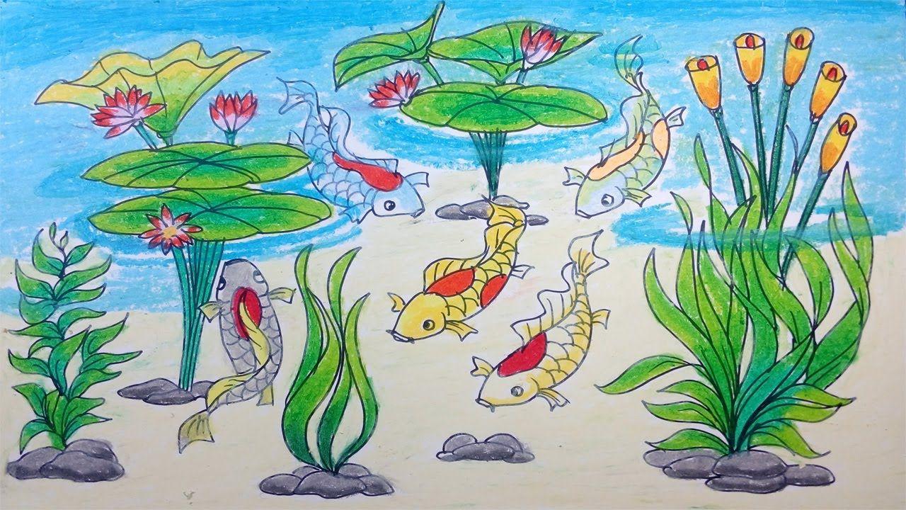 Cara Menggambar Ikan Koi, Rumput, dan Tanaman Air/Drawing of Koi Fish, G...  | Cara menggambar, Gambar, Ikan