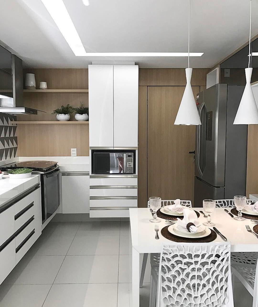Cozinha Em L Com Mesa Cozinhas Pinterest Ilumina O Cozinha