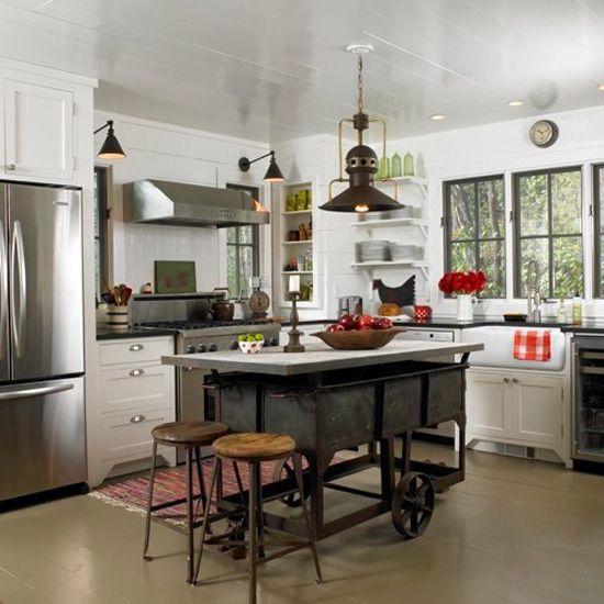Industrial Kitchen Windows: Large Windows With Dark Sashes, Farmhouse Sink, Cool Light