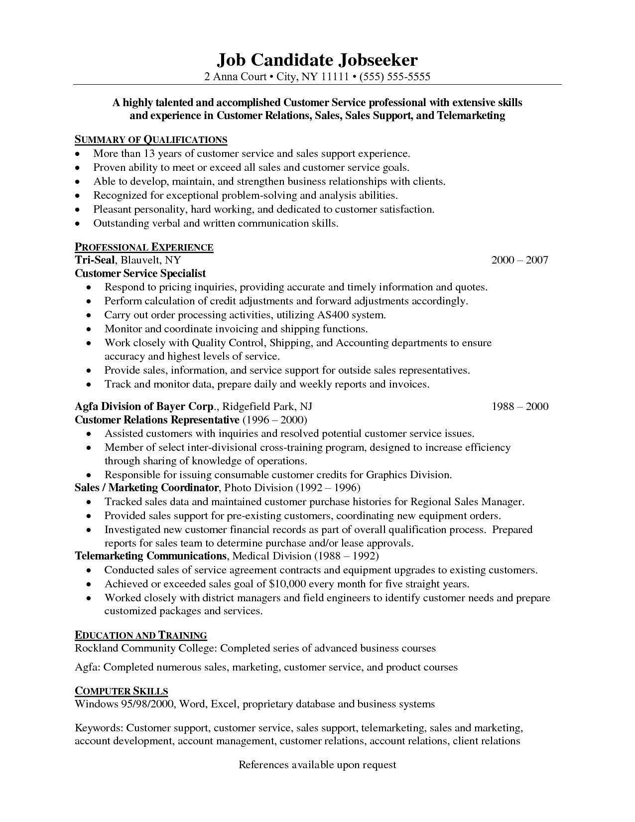 Resume Objectives For Customer Service Best Resume Objective