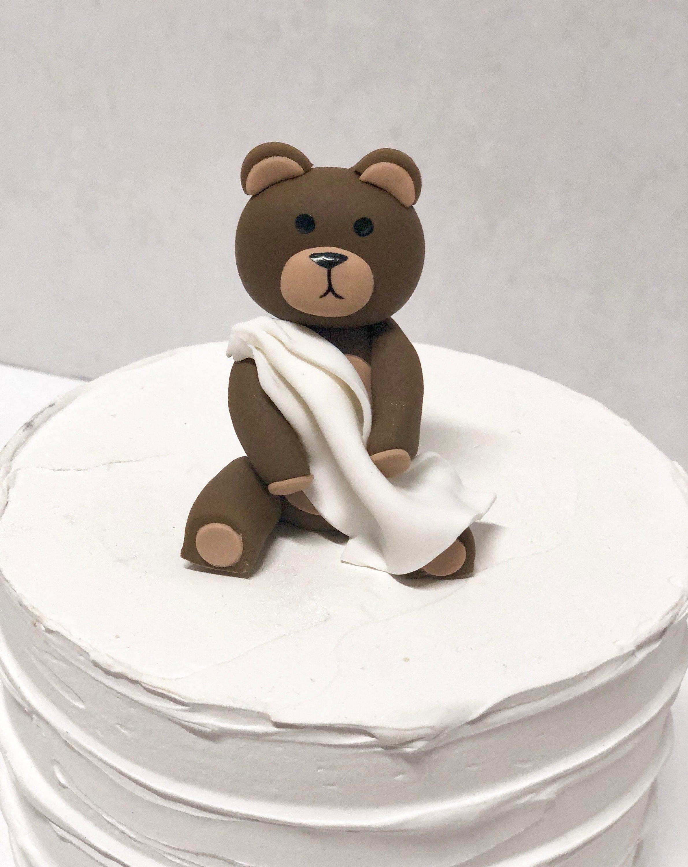 Fondant teddy bear cake topper fondant baby shower cake