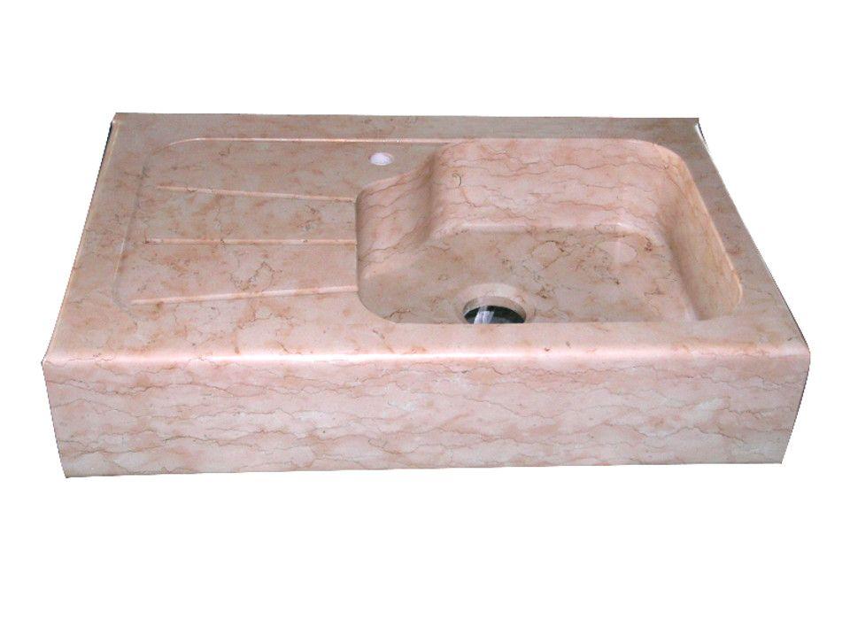 Lavello cucina dotato di gocciolatoio in marmo Rosa Egeo. | Lavelli ...
