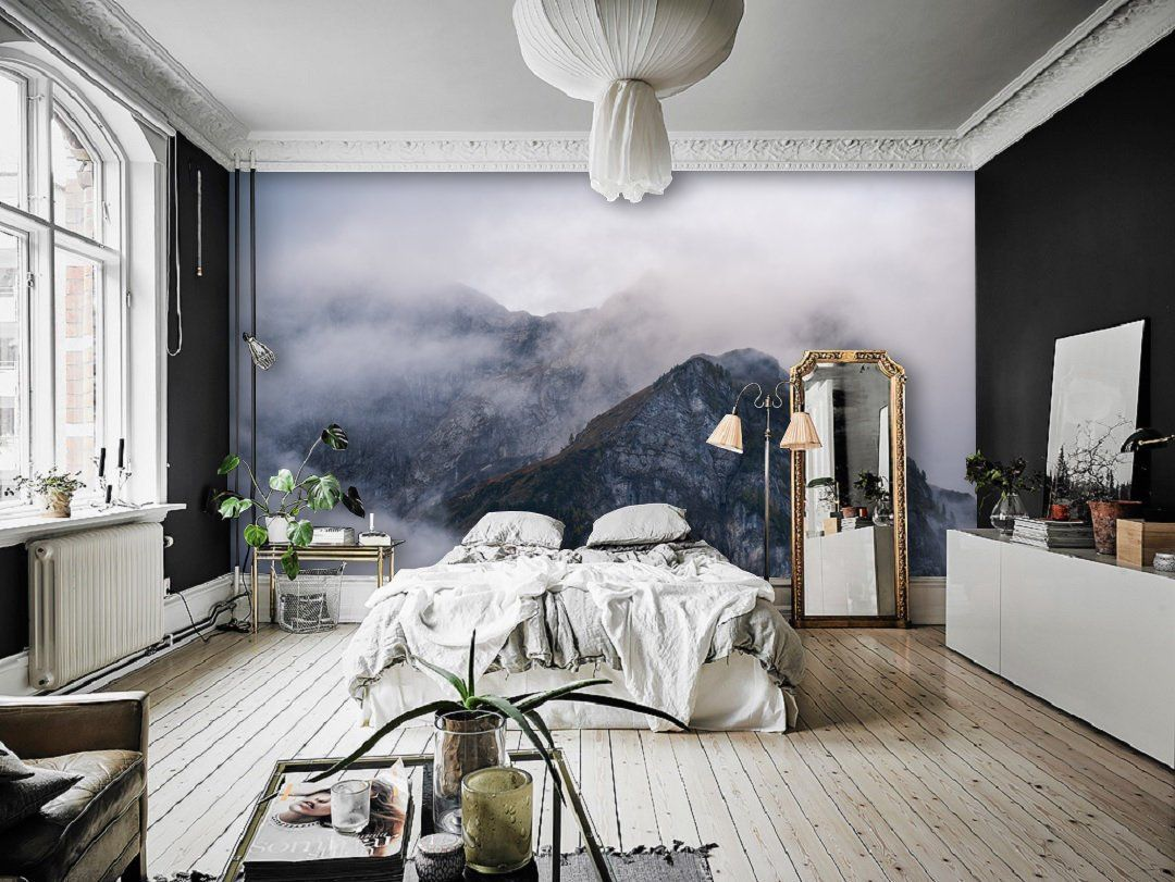 Mountain Pics Seen Trough the Morning Mist Wall Mural