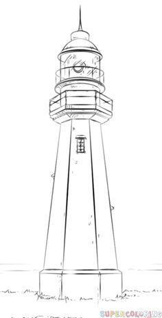 How to draw a lighthouse step by step. Drawing tutorials