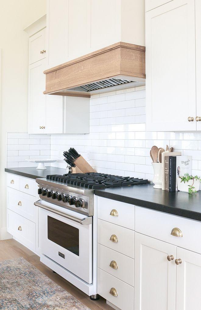 White kitchen cabinet with White Oak Hood White oak hood ...