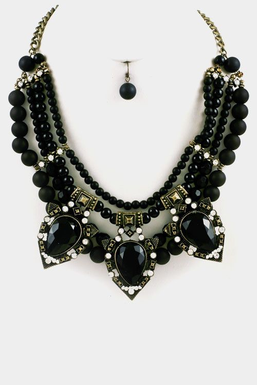 Crystal & Beads Necklace Set