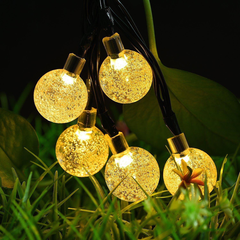 Outdoor Solar Powered Globe String Lights, 8Mode 30 LED 21FT Warm ...