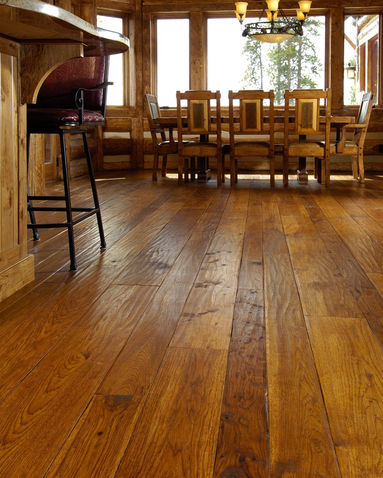 Hand Scraped Edge Texture In A Dining Room Wood Floors Wide Plank Flooring Rustic Wood Floors
