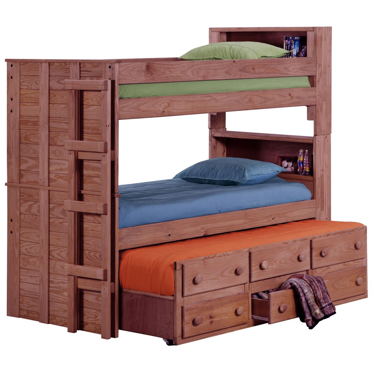 Twin Bunk Bed Bookcase Headboards Trundle Mahogany Finish