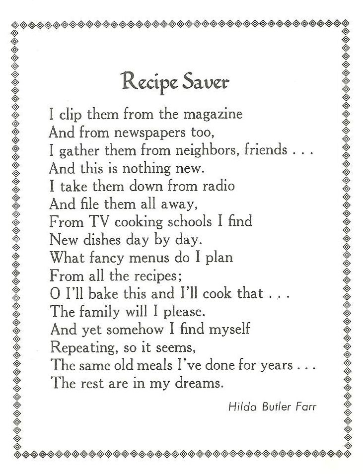 Recipe Poem Recipe Book Family Poems Cookbook Recipes