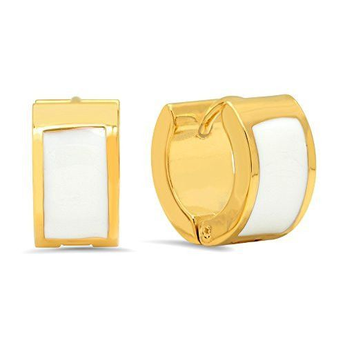 Ben and Jonah 18k Gold Plated Stainless Steel Huggies with White Enamel