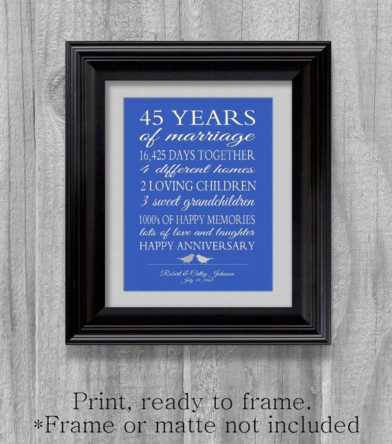 45th Wedding Anniversary Gift Pas Shire Blue Personalized Love Story Stats Important Events Marriage Art Print Unique Custom