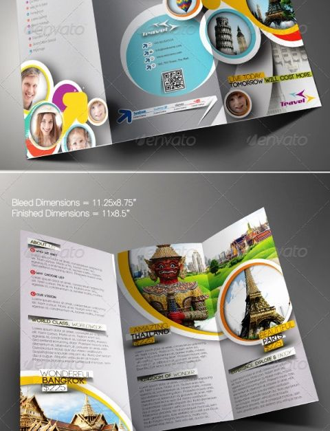 Brosur Tour Dan Travel Travel Agency Trifold Brochure Template