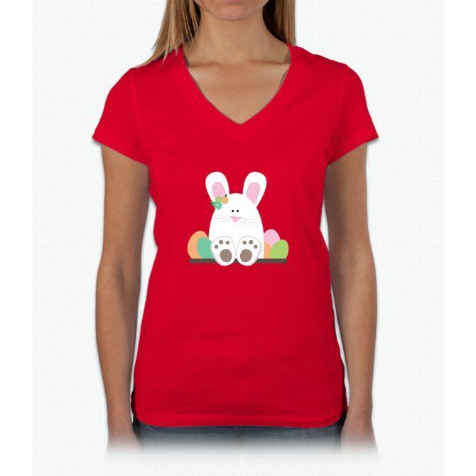 Sittin' Bunny Womens V-Neck T-Shirt