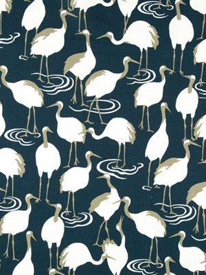 Winter Crane Admiral Bird Designs Blue Turquoise Print Fabrics