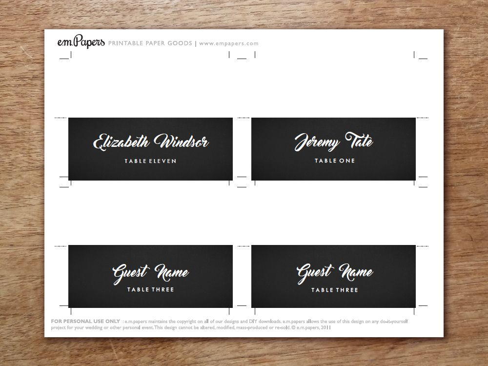 Printable Place Card - Retro Chalkboard Printable wedding place - folded place card templates