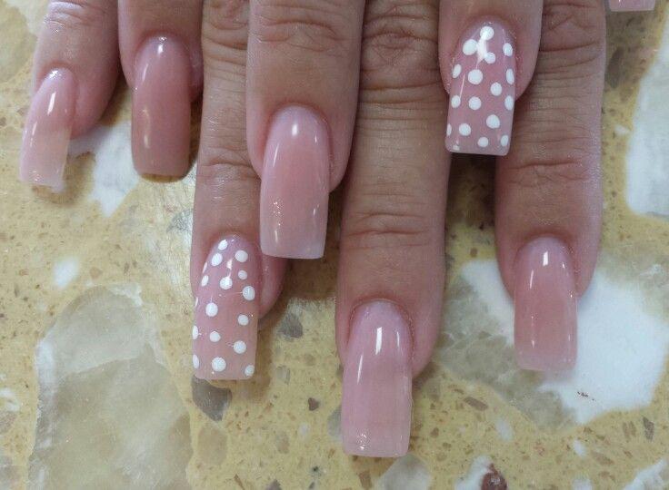 Nails Art Clear Pink Powder Polka Dots Polka Dot Nails Nails Clear Nails