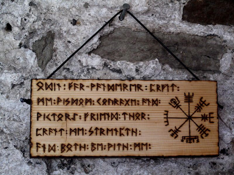 Norse Wall Plaque Odin Thor Vegvisir Viking Comp Futhark Runes