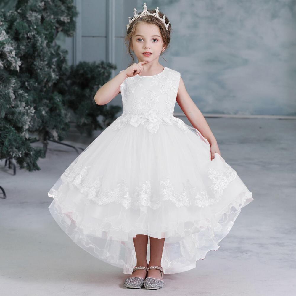2019 Girls Children Wedding Dress White First Communion Formal Long Lace Princess Pr Wedding Dresses For Kids Princess Prom Dresses Wedding Flower Girl Dresses [ 1000 x 1000 Pixel ]